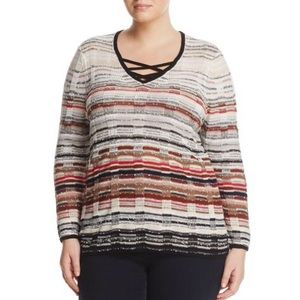 NWT NIC+ZOE Red Hills Striped Sweater